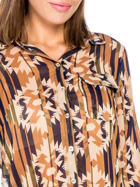 Khaki koszula w etniczne wzory z kieszonką                                  zdj.                                  7