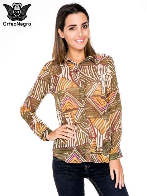 Khaki koszula w kolorowe zygzaki                                  zdj.                                  1