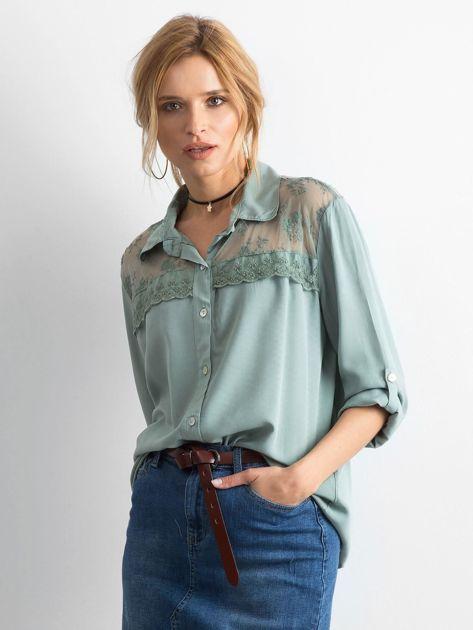 Khaki koszula z długim rękawem                               zdj.                              1