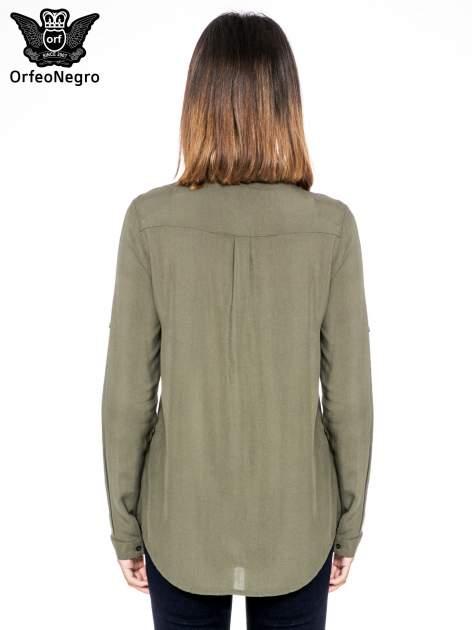 Khaki koszula z kołnierzykiem zdobionym kamieniami                                  zdj.                                  4