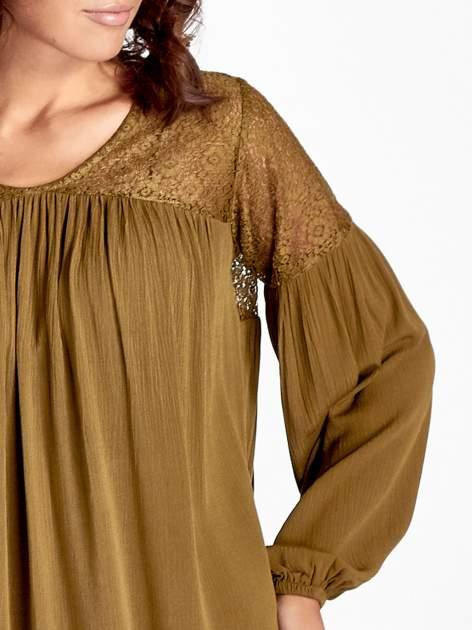 Khaki koszula z koronkową górą w stylu boho                                  zdj.                                  4