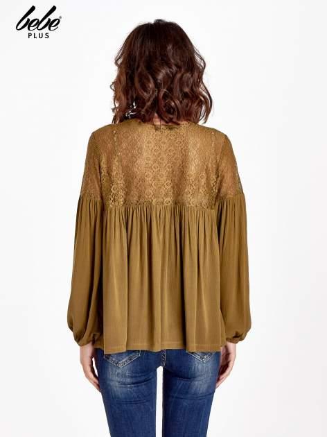 Khaki koszula z koronkową górą w stylu boho                                  zdj.                                  3