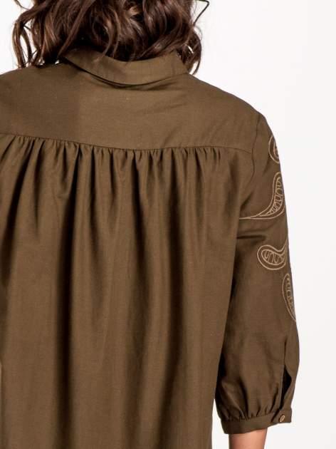 Khaki koszula z szerszymi rękawami                                  zdj.                                  5