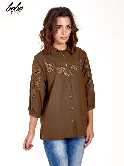 Khaki koszula z szerszymi rękawami