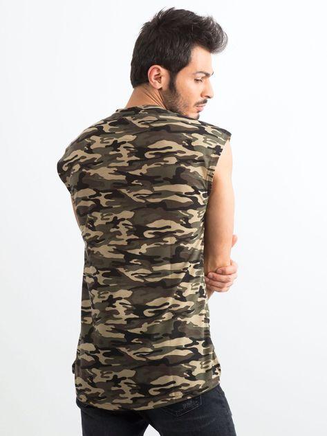 Khaki koszulka męska z nadrukiem moro                              zdj.                              2