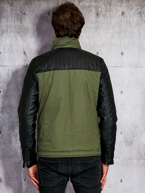 Khaki ocieplana kurtka męska ze skórzanymi rękawami                              zdj.                              2