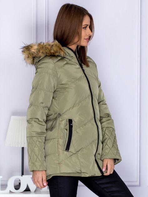Khaki ocieplana kurtka z futrzanym kapturem                              zdj.                              5