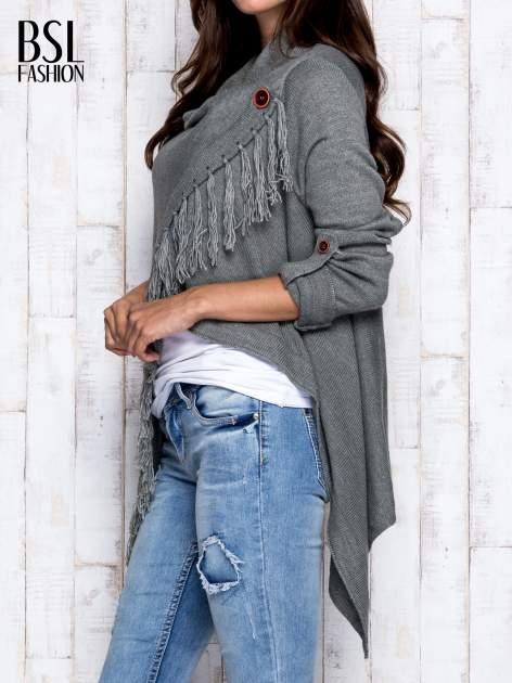 Khaki otwarty sweter z podwijanymi rękawami                                  zdj.                                  4