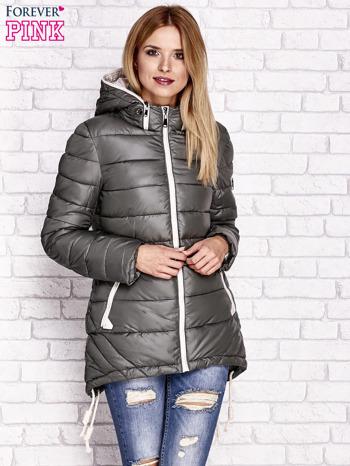 Khaki pikowana kurtka z kontrastowymi suwakami                                  zdj.                                  1