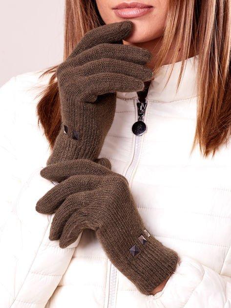 Khaki rękawiczki damskie z ćwiekami                              zdj.                              1