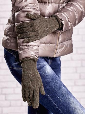 Khaki rękawiczki z błyszczącą nicią z wywijanym mankietem                                  zdj.                                  3
