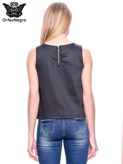 Khaki skórzana bluzka z łańcuszkiem przy dekolcie                                  zdj.                                  4