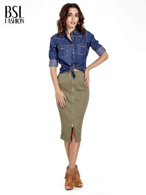 Khaki spódnica midi z suwakiem z przodu                                  zdj.                                  8