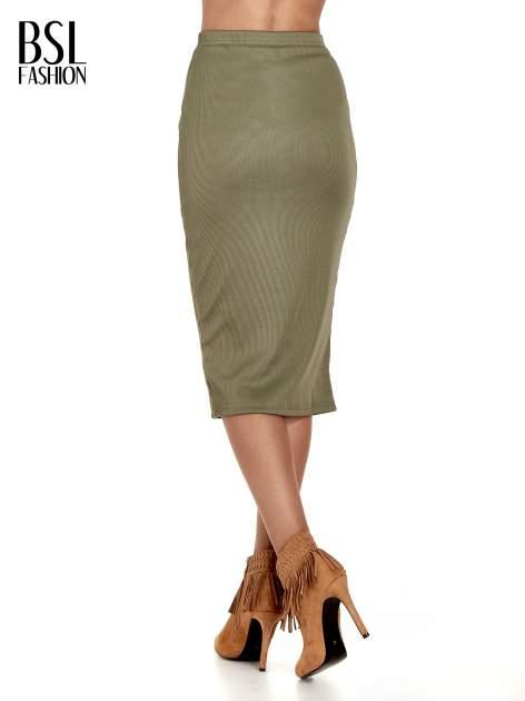 Khaki spódnica midi z suwakiem z przodu                                  zdj.                                  4