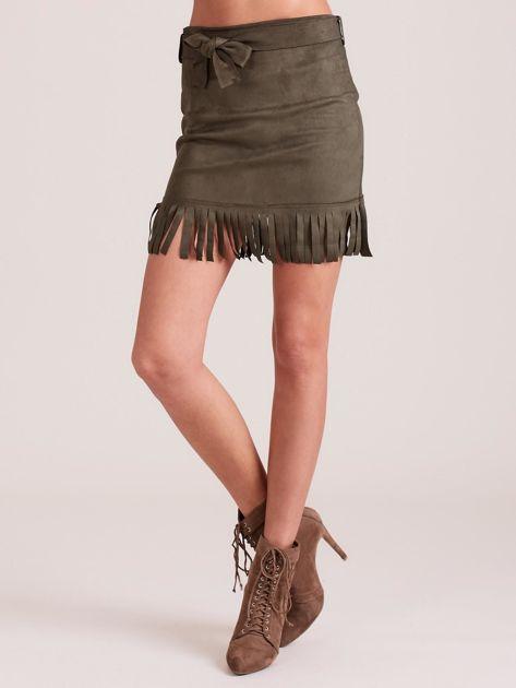 Khaki spódnica z frędzlami                              zdj.                              5