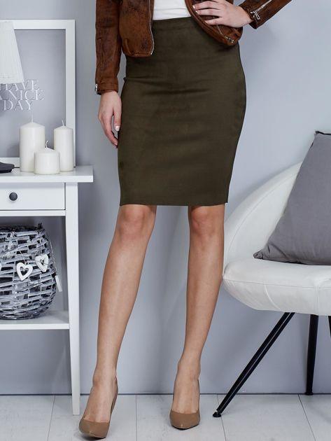 Khaki spódnica z imitacji zamszu                                  zdj.                                  1
