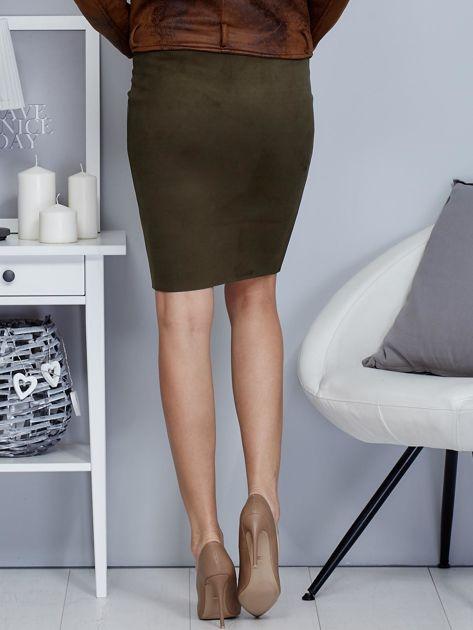 Khaki spódnica z imitacji zamszu                                  zdj.                                  2