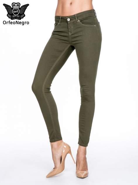 Khaki spodnie typu skinny z elastycznego materiału                                  zdj.                                  1