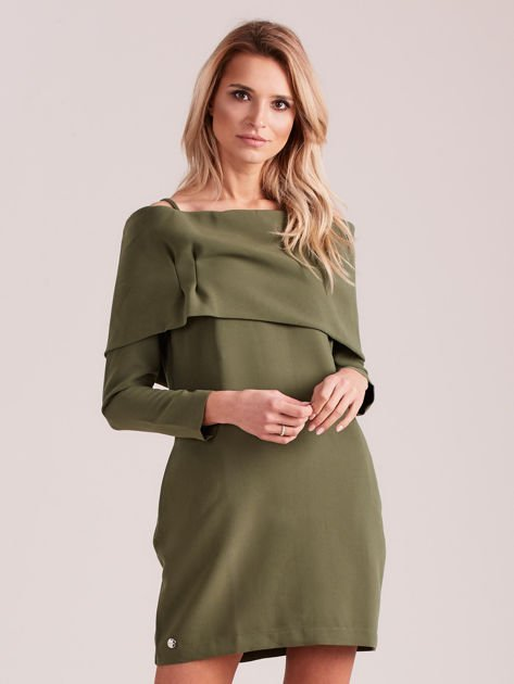 Khaki sukienka cold arms z szeroką falbaną                              zdj.                              1