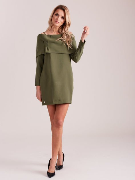 Khaki sukienka cold arms z szeroką falbaną                              zdj.                              4