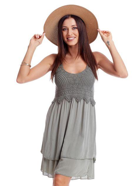 Khaki sukienka na cienkich ramiączkach                              zdj.                              1