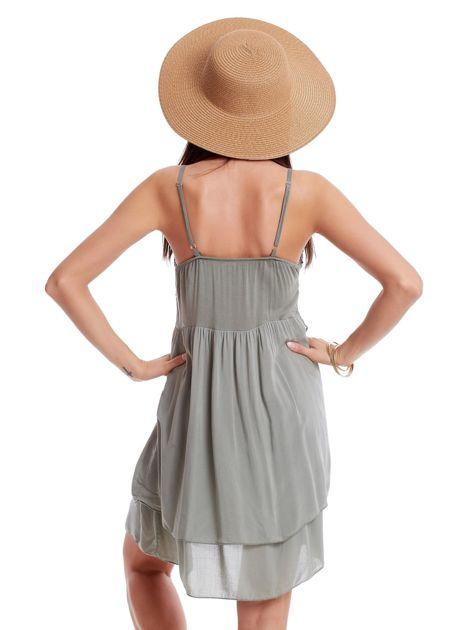 Khaki sukienka na cienkich ramiączkach                              zdj.                              2