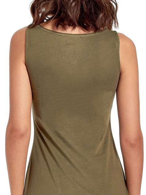 Khaki sukienka z dłuższym tyłem                                  zdj.                                  6