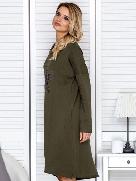 Khaki sukienka z gwiazdą                                   zdj.                                  5