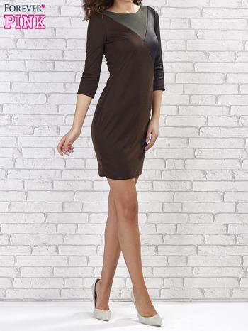 Khaki sukienka z trójkątnym wykończeniem                                  zdj.                                  4