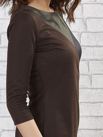 Khaki sukienka z trójkątnym wykończeniem                                  zdj.                                  6