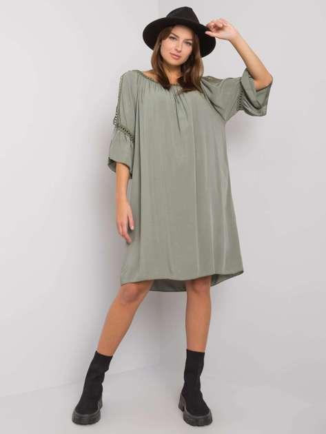 Khaki sukienka z wycięciami Marielle OCH BELLA