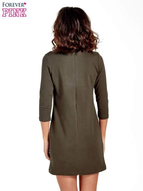Khaki sukienka ze złotymi suwakami                                  zdj.                                  6