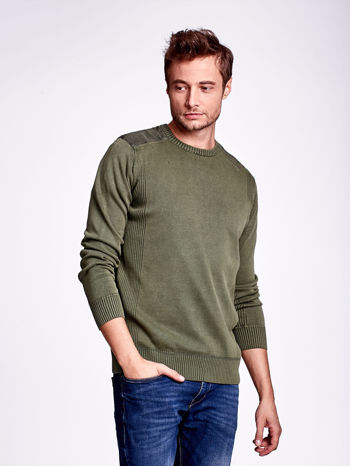 Khaki sweter męski z prążkowanymi wstawkami                                  zdj.                                  1