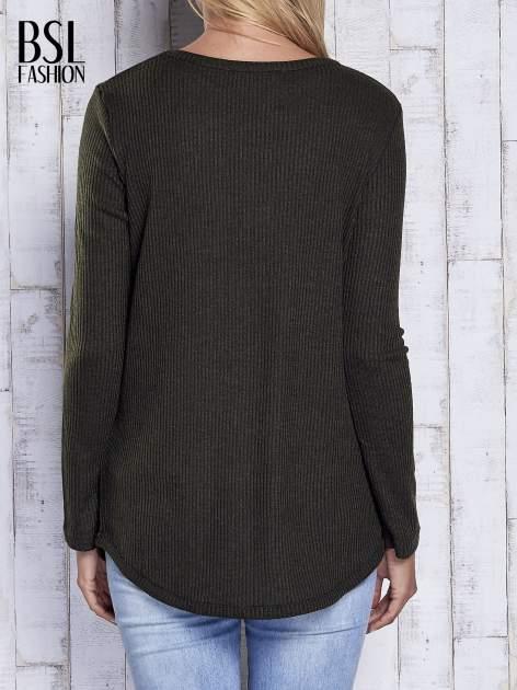 Khaki sweter w prążki                                  zdj.                                  5