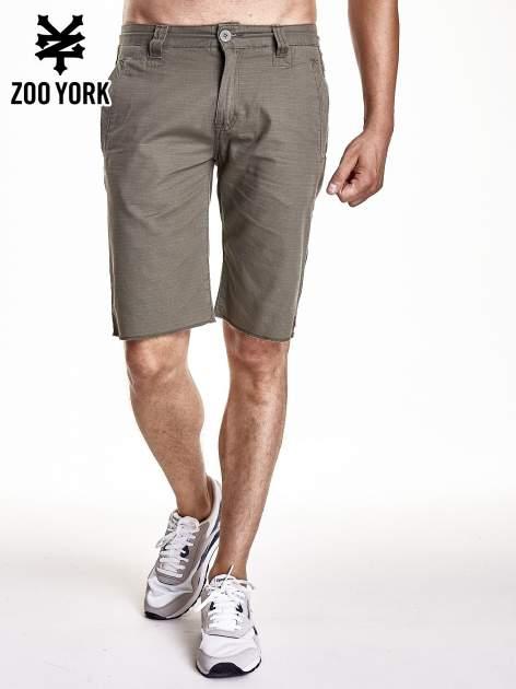 Khaki szorty męskie z kieszeniami z tyłu