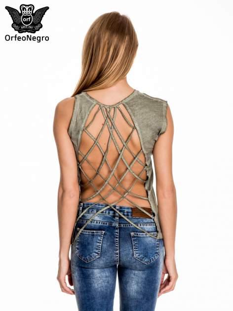 Khaki t-shirt z nadrukiem SHINE z gwiazdkami                                  zdj.                                  4