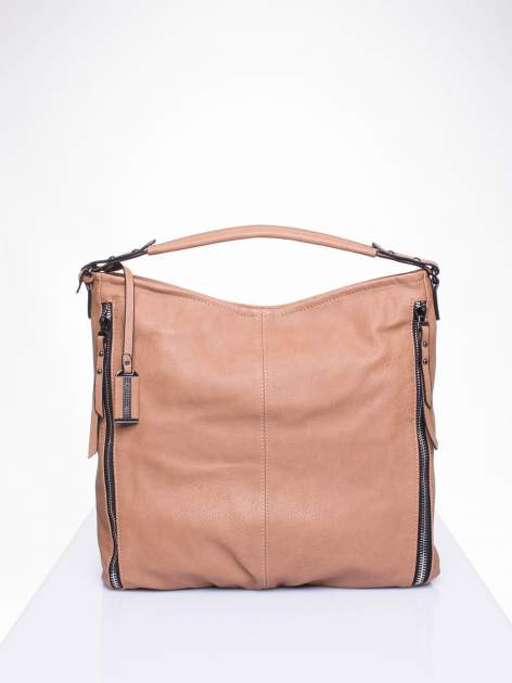 Khaki torba hobo z suwakami po bokach                                  zdj.                                  1