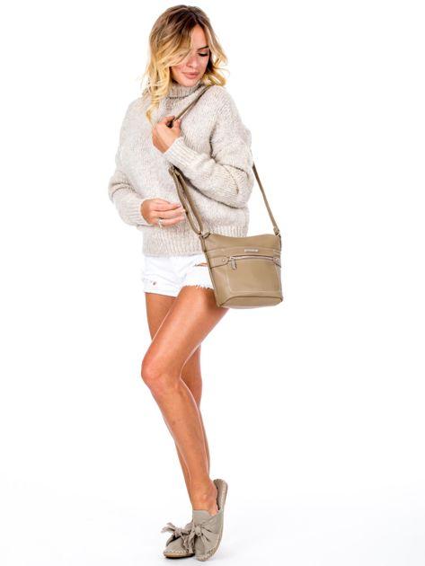 Khaki torba listonoszka z kieszeniami                               zdj.                              5
