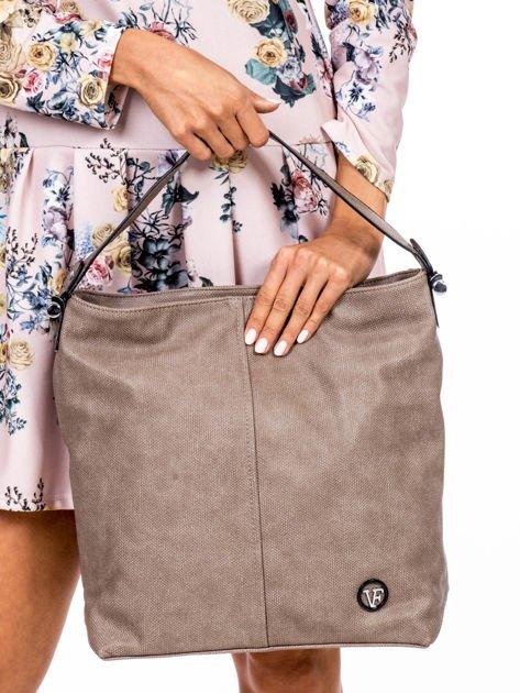 Khaki torba miejska z przeszyciem i drobną fakturą                              zdj.                              2