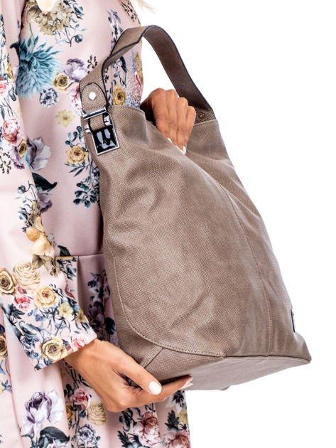 Khaki torba miejska z przeszyciem i drobną fakturą                              zdj.                              3