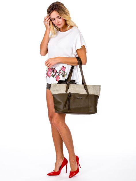 Khaki torba shopper z materiałową wstawką                              zdj.                              1