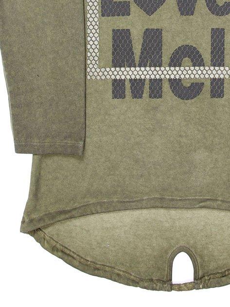 Khaki tunika dla dziewczynki z kapturem i napisem                              zdj.                              8