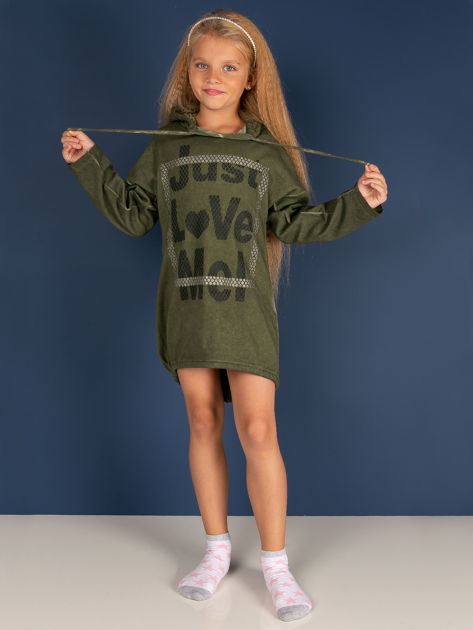 Khaki tunika dla dziewczynki z kapturem i napisem                              zdj.                              4