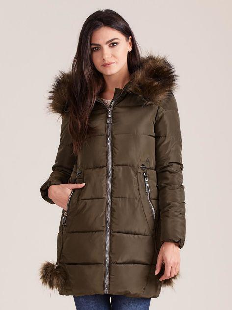 Khaki zimowa kurtka damska z futerkiem                              zdj.                              1