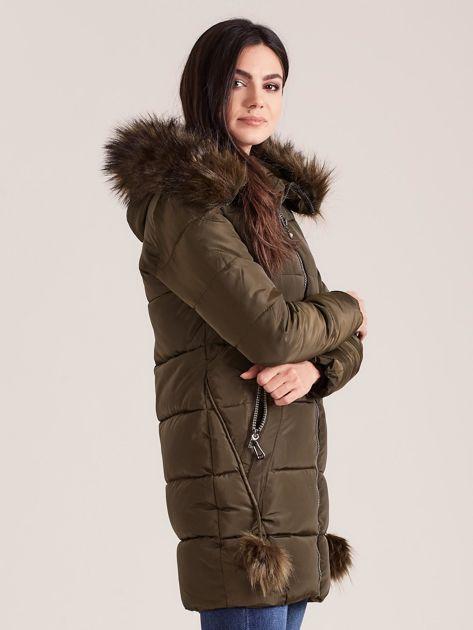 Khaki zimowa kurtka damska z futerkiem                              zdj.                              3
