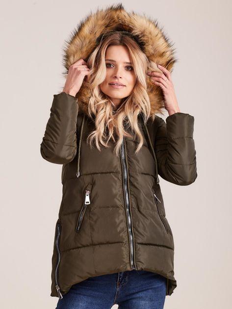 Khaki zimowa kurtka z futerkiem                              zdj.                              5