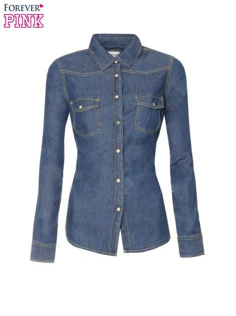 Klasyczna ciemnoniebieska jeansowa koszula z kieszonkami                                  zdj.                                  5
