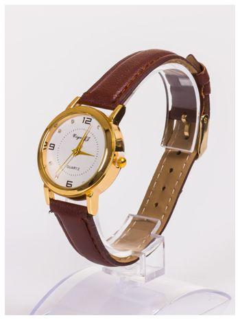 Klasyczny damski zegarek z ozdobnymi cyrkoniami na tarczy                                  zdj.                                  2