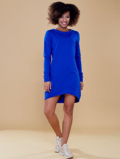 Kobaltowa dresowa tunika basic                              zdj.                              4