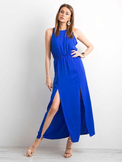 Kobaltowa sukienka maxi z rozcięciami                              zdj.                              1